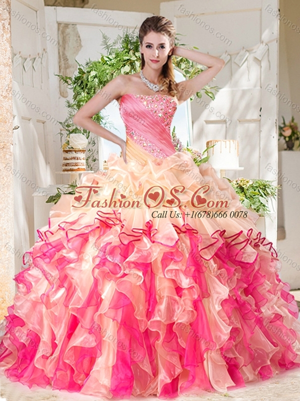 Cheap Big Puffy Colorful Quinceanera Dresses with Beading and Ruffles