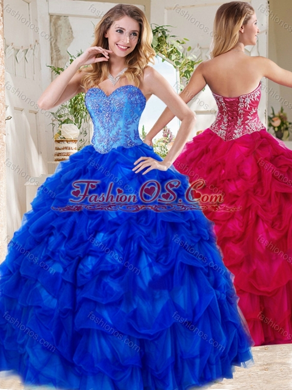 Exclusive Blue Big Puffy Quinceanera Dresses with Beading and Pick Ups