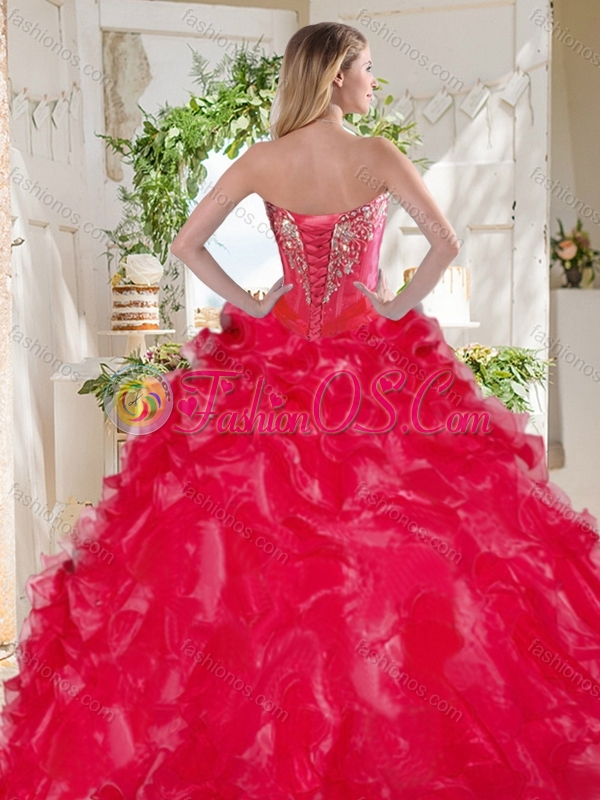 Fashionable Visible Boning Big Puffy Quinceanera Dress with Beading and Ruffles