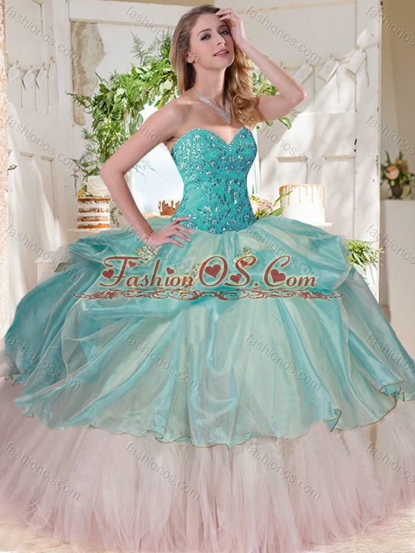 Gorgeous Beaded Bodice and Applique Big Puffy Quinceanera Dress for 2016