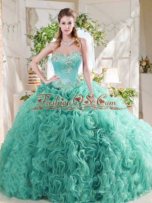 Luxurious Rolling Flower Big Puffy Mint Quinceanera Dresses with Beading