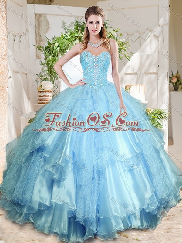Popular Rose Pink Really Puffy Quinceanera Dress with Beading and Ruffles Layers