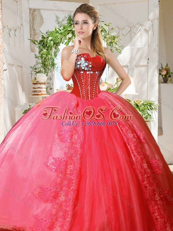 Romantic Puffy Skirt Beaded and Applique Quinceanera Dress in Coral Red