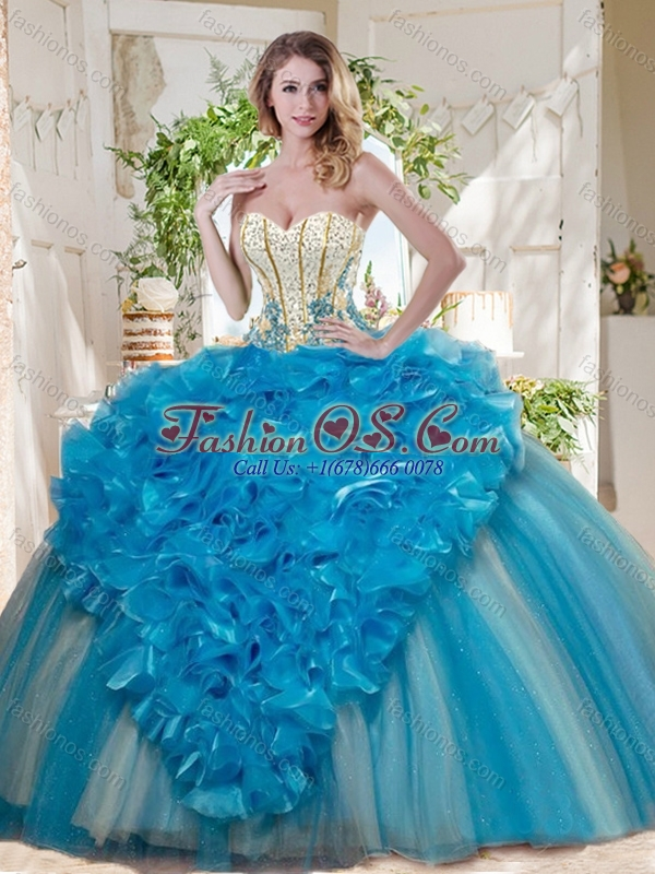 Visible Boning Really Puffy Quinceanera Dress with Ruffles and Beading