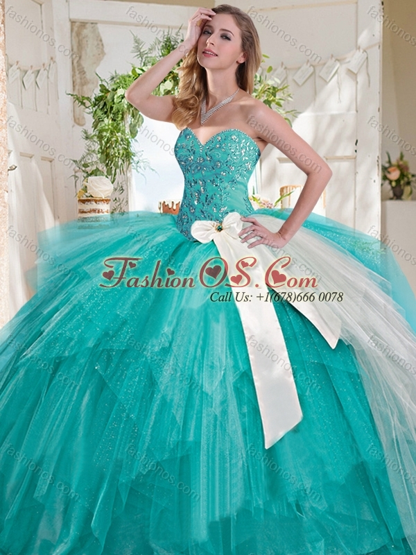 Wonderful Turquoise Big Puffy Quinceanera Dress with Beading and White Bowknot