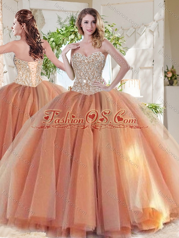 Exclusive Beaded Really Puffy Quinceanera Dress in Orange