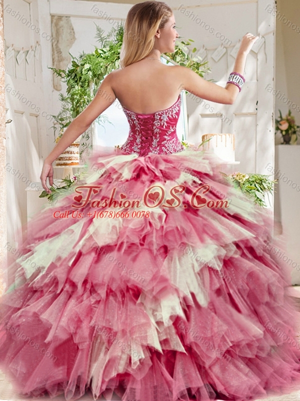 Popular Beaded and Ruffled Big Puffy Quinceanera Dress in Blue and White