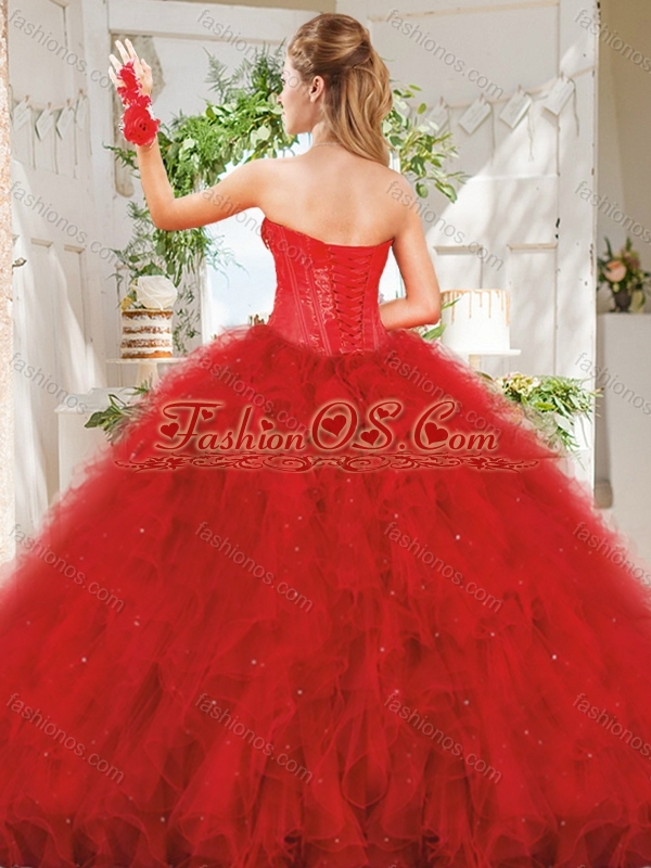 Popular Really Puffy Red Quinceanera Dress with Beading and Ruffles