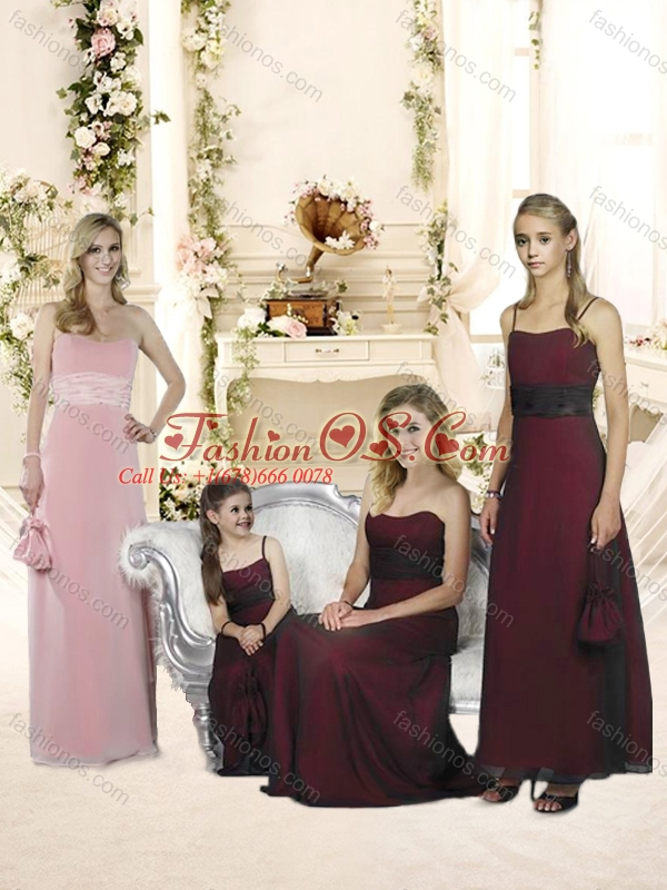 2016 Sophisticated Baby Pink Empire Bridesmaid Dress with Belt