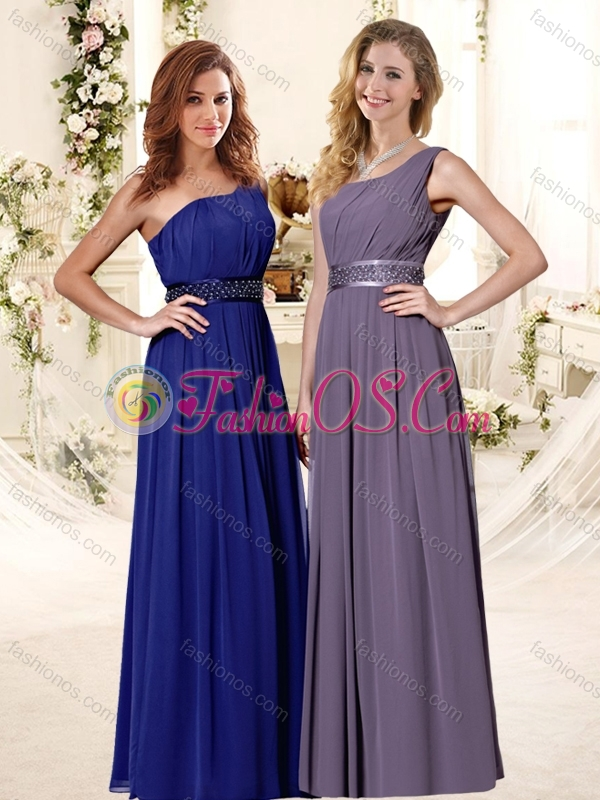 Beaded Decorate Waist Empire Bridesmaid Dress with One Shoulder