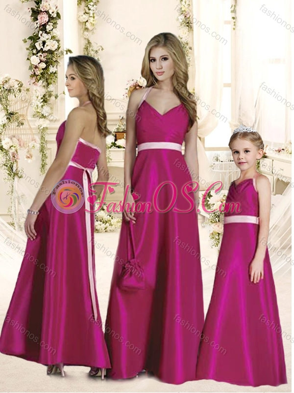 Luxurious Halter Top Sashes Bridesmaid Dress in Hot Pink