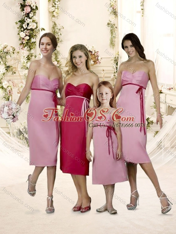 New Arrivals Tea Length Belt Bridesmaid Dress with Empire