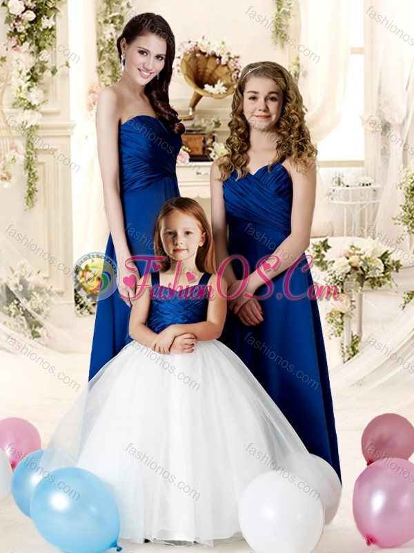 2016 Elegant Ruched Empire Bridesmaid Dress with Dark blue