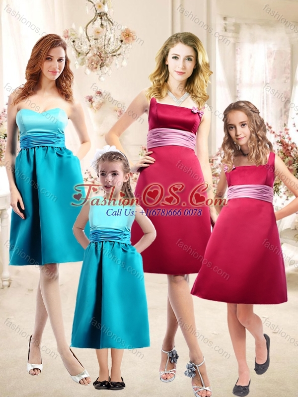 2016 Modest Spaghetti Straps Satin Bridesmaid Dress with Handle Made Flower and Sashes