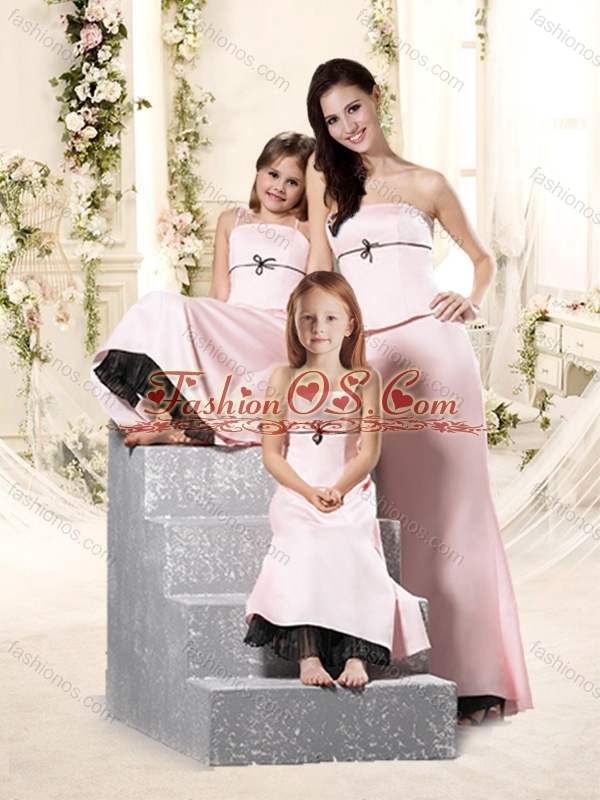 2016 Romantic Bowknot Empire Bridesmaid Dress in Baby Pink