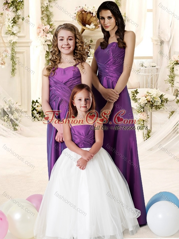 Beautiful Empire Floor Length Bridesmaid Dress in Eggplant Purple