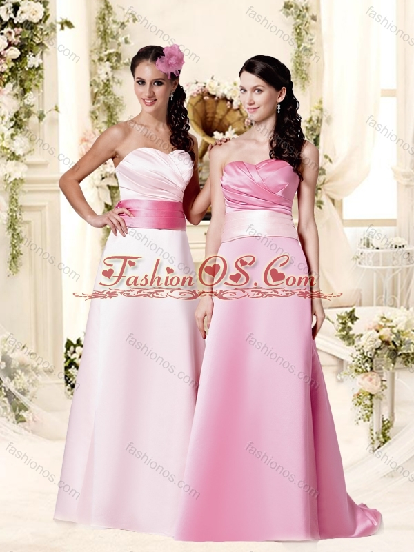Classical Empire Brush Train Bridesmaid Dress with Belt and Ruching