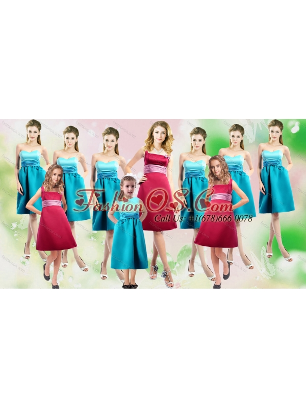 Pretty Satin Red Bridesmaid Dresses with Handle Made Flower
