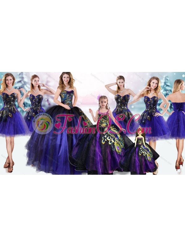 Elegant Peacock Applique Quinceanera Dress and Lovely Straps Mini Quinceanera Dress and Latest Purple Short Dama Dress
