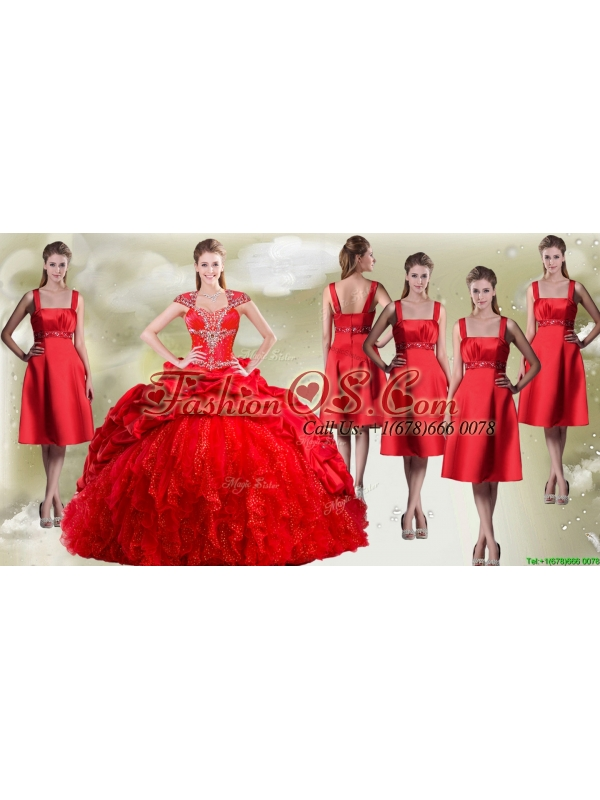 Fashionable Beaded and Pick Ups Quinceanera Dress and New Style Square Dama Dresses in Red