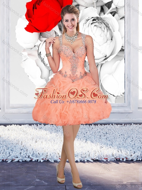 Fashionable Straps Orange Quinceanera Dress and Latest Square Mini Quinceanera Dress and Classical Beaded and Ruffled Prom Dress and Beautiful Tulle Short Dama Dresses