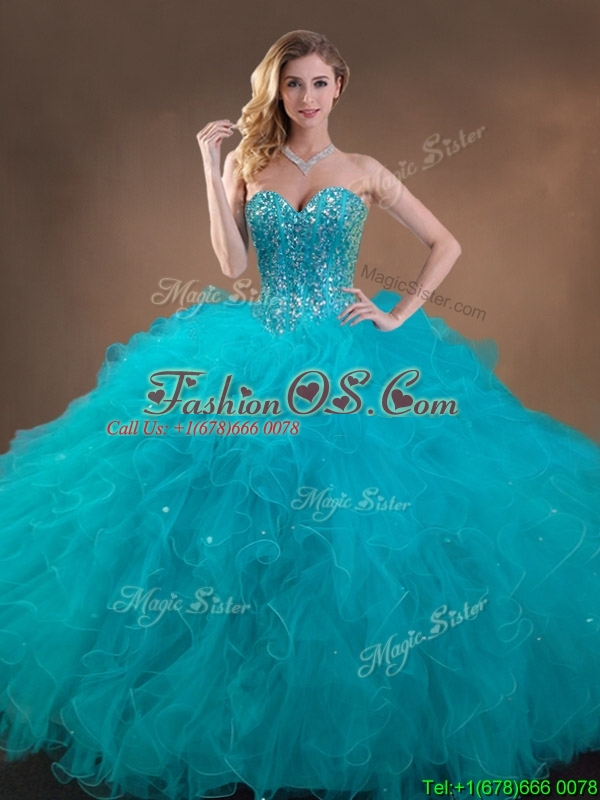 Luxurious Beaded and Ruffled Quinceanera Dress and Sweet Spaghetti Straps Teal Mini Quinceanera Dress and Discount Sequined Short Dama Dresses