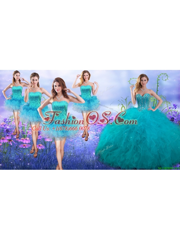 New Arrivals Teal Really Puffy Quinceanera Dress and Gorgeous Sequined and Ruffled Layers Dama Dresses