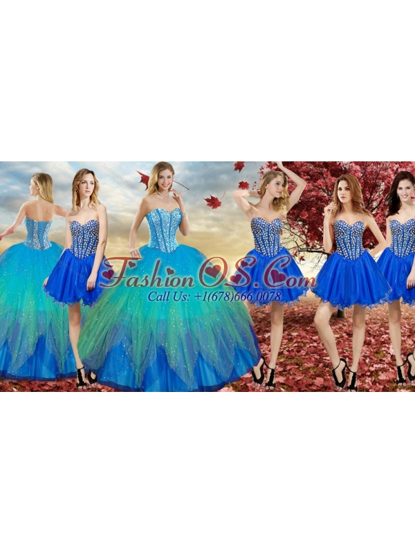 Wonderfu Rainbow Quinceanera Dress and New Arrivals Blue Dama Dress with Beading