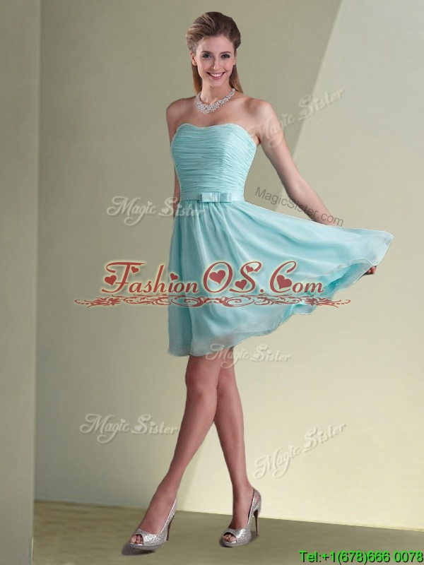2016 Empire Ruched Decorated Chiffon Bridesmaid Dress in Aqua Blue