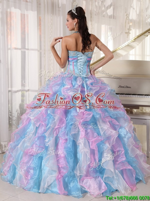 Clearance 2016 Beading Quinceanera Dresses  with Appliques