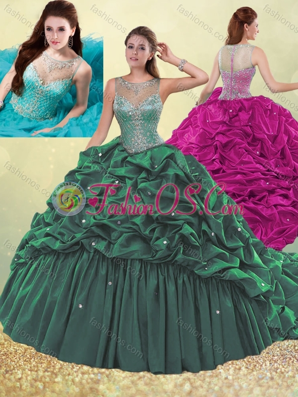 Lovely See Through Beaded and Bubble Quinceanera Dress in Dark Green