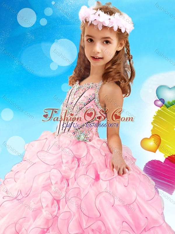 Fashionable Beaded and Ruffled Mini Quinceanera Pageant Dress with Halter Top