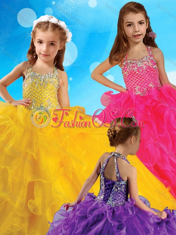 Affordable Halter Top Big Puffy Little Girl Pageant Dress with Beading and Ruffles