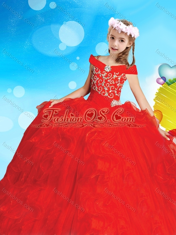 Exquisite Off the Shoulder Little Girl Pageant Dress with Cap Sleeves