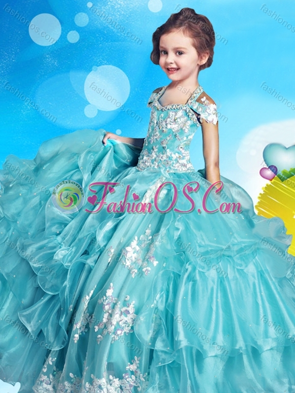 Lovely Applique and Beaded Little Girl Pageant Dress with Cap Sleeves