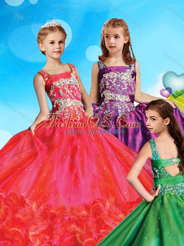 Perfect Straps Organza Little Girl Pageant Dress with Beading and Ruffled Layers