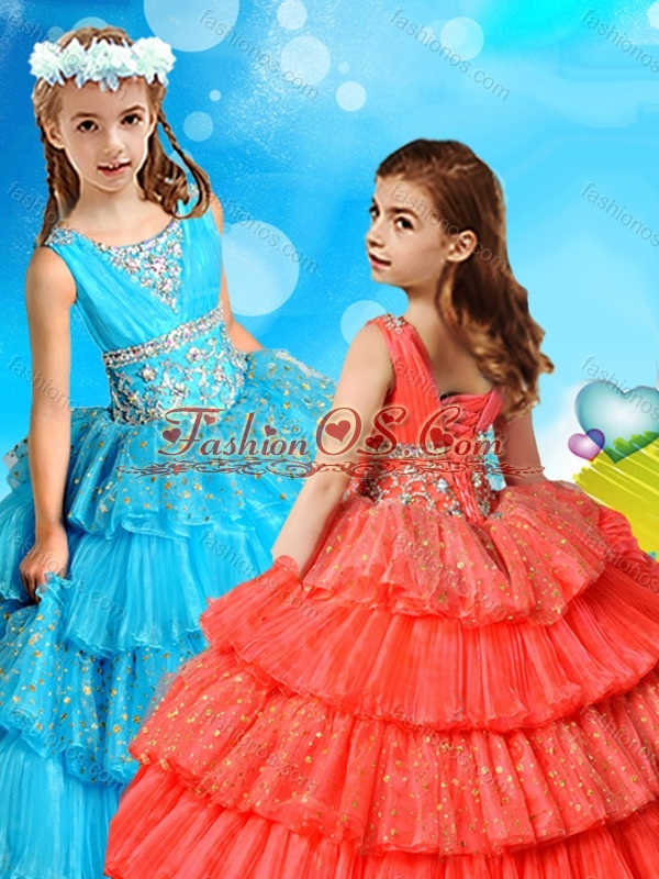 Polka Dot Sequined Little Girl Pageant Dress with Ruffled Layers and Beading