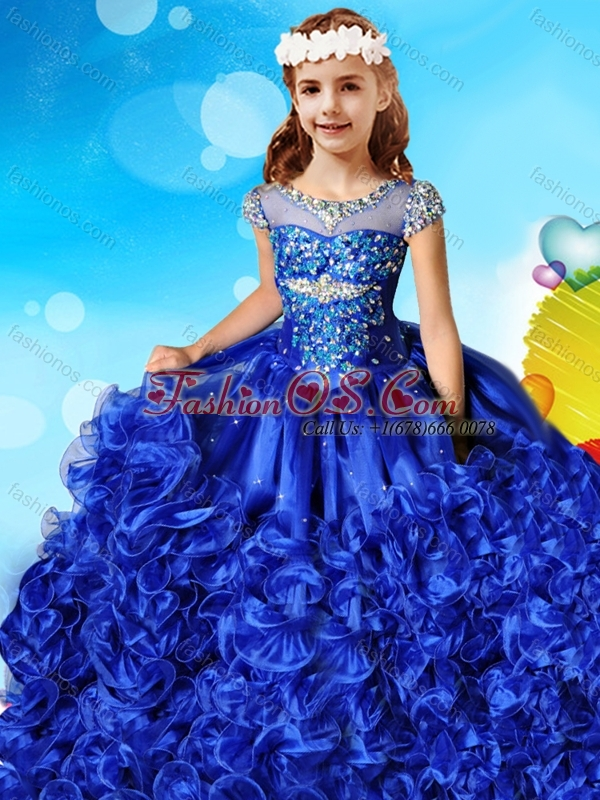 See Through Beaded Decorated Cap Sleeves Little Girl Pageant Dress with Scoop
