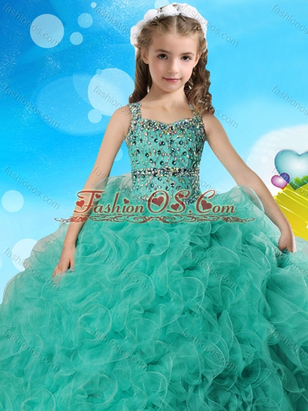Best Selling Beaded Bodice and Ruffled Little Girl Pageant Dress in Organza