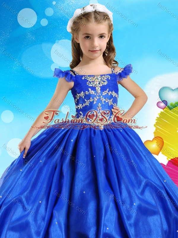 Modest Really Puffy Beaded Little Girl Pageant Dress with Off the Shoulder