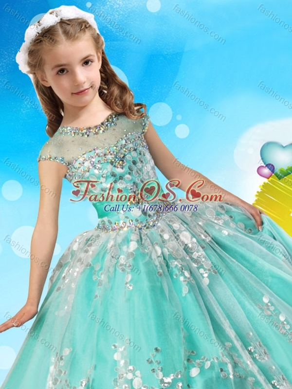 See Through Cap Sleeves Little Girl Pageant Dress with Beading and Appliques