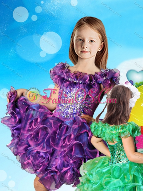Affordable Scoop Cap Sleeves Little Girl Mini Quinceanera Dress with Beading and Ruffles