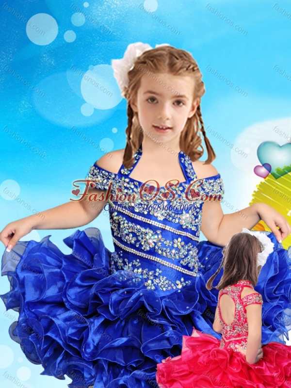 Exclusive Beaded and Ruffled Layers Little Girl Mini Quinceanera Dress with Open Back