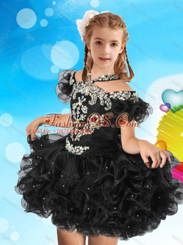 Fashionable Halter Top Cap Sleeves Little Girl Mini Quinceanera Dress with Beading and Ruffles