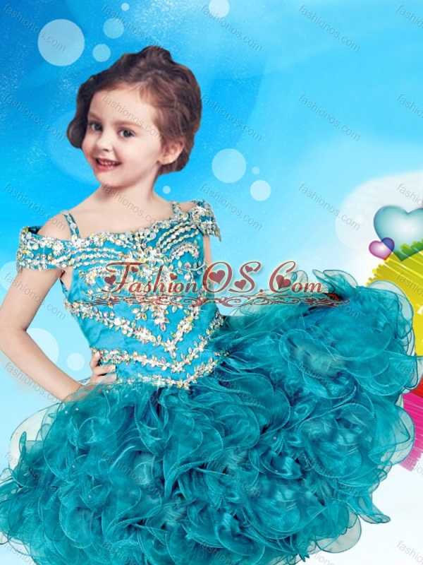 Gorgeous Straps Beaded Cap Sleeves Organza Little Girl Mini Quinceanera Dress
