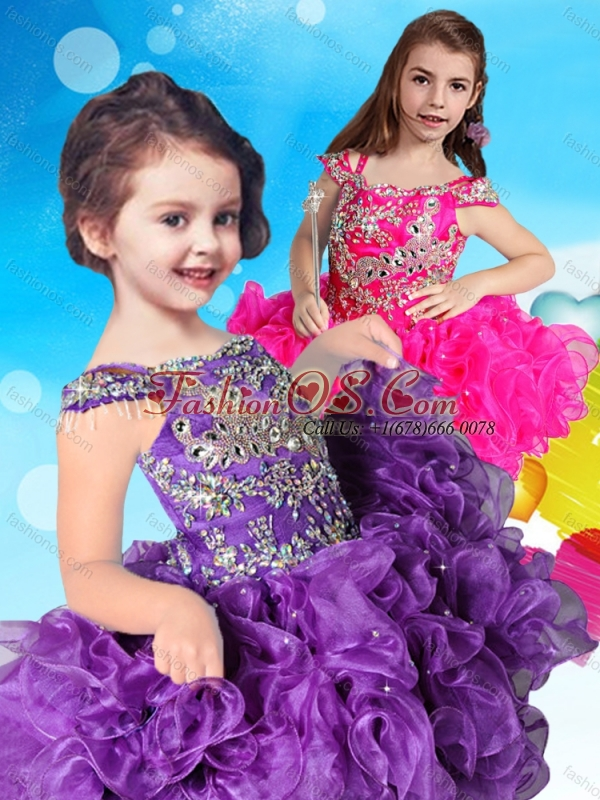 Hot Sale Straps Cap Sleeves Little Girl Mini Quinceanera Dress in Teal