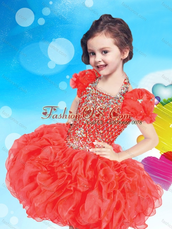 Inexpensive Halter Top Short Little Girl Mini Quinceanera Dress with Beading and Ruffles