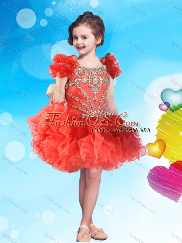 New Style Cap Sleeves Two Tone Little Girl Mini Quinceanera Dress with Beading and Ruffles