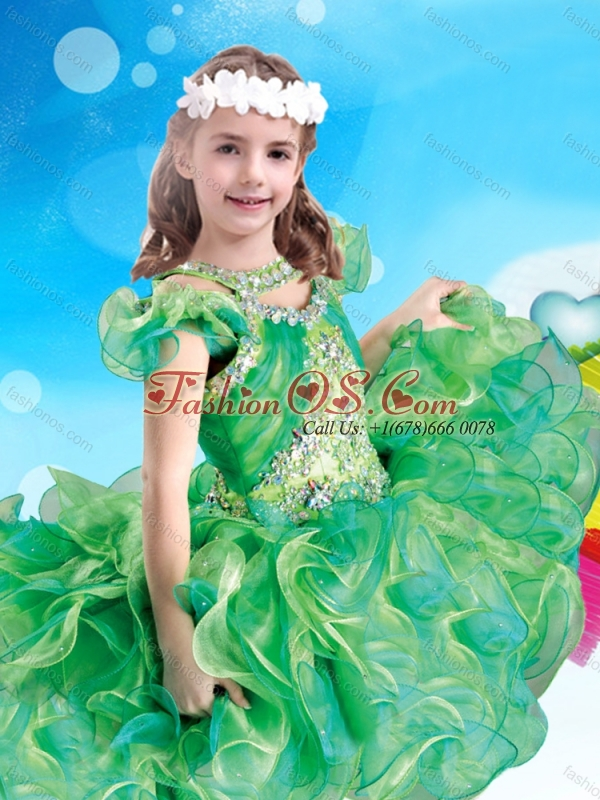 Wonderful Scoop Green Little Girl Mini Quinceanera Dress with Beading and Ruffles