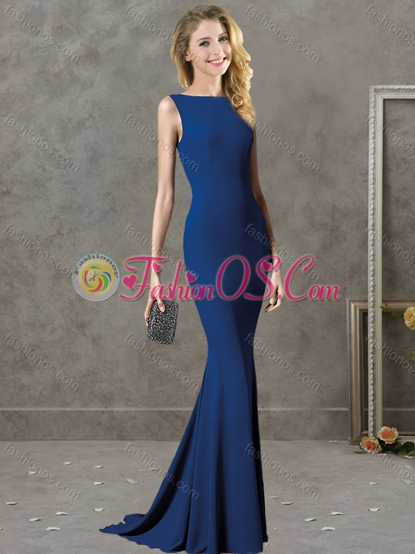 Best Selling Bateau Backless Royal Blue Mother of the Bride Dress with Brush Train